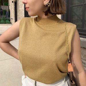 Sleeveless Mock Neck Knit Sweater